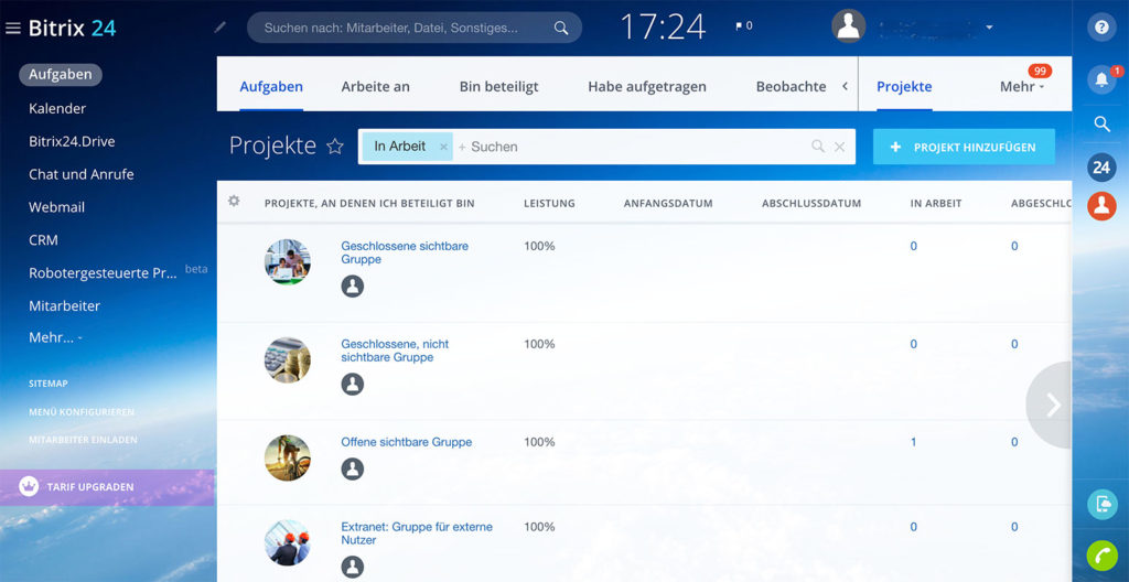 Bitrix24 Projektmanagement-Software Test