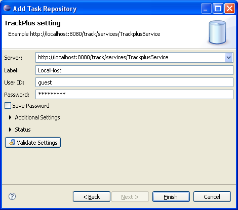 Trackmylyn connection dialog