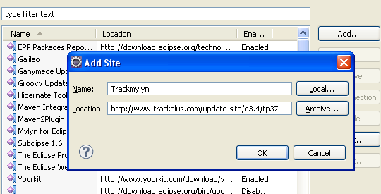 Trackmylyn installation: step 4
